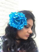 Sufias Accessories Extra Large Blue Peony Flower Hair Clip Slide Brooch Pin Festival Rose Big