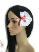 Sufias Accessories White 1920s White Rockabilly Orchid Hair Flower Grip Pin Slide Boho Head Clip