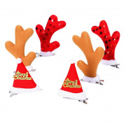 Christmas Hair Clips,Fascigirl 6Pcs Christmas Hair Clips Cute Santa Hat Elk Horns Christmas Hairpin Christmas Hair Accessories