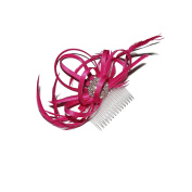 BEAUTIFUL HOT PINK DIAMANTE HAIR FASCINATOR ON CLEAR COMB - WEDDING BRIDAL PARTY