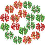 Christmas Hair Bows,Fascigirl 18Pcs Christmas Hair clips Snowman Snowflake Pattern Hair Bow Clip Ribbon Bow Clip for Kids