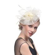 Women Elegance Net Hoop Feather Fascinator Bride Hair Clip Veil Colourful Party Hair Accessories