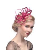 Women Elegance Flower Feather Fascinator Bride Hat Hair Clip Veil Colourful Party Hair Accessories