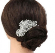 Sufias Accessories Peacock Feather Crystal Diamante Flower Leaves Hair Comb Wedding Clip Slide