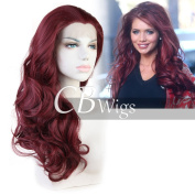 Cbwigs Realistic Looking Burgundy Synthetic Lace Front Wigs for Women Heat Resistant Long Wavy Wine Red Wig