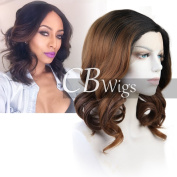 Cbwigs Heat Resistant Ombre Brown Short Bob Wavy Synthetic Lace Front Wigs for Women Cosplay Party Daily Wig