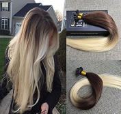 Sunny 50 Strands Ombre Pre Bonded U tip Huamn Hair Extensions Dark Brown to Bleach Blonde 100% Remy Brazilian Human Hair Extensions 60cm
