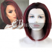 Cbwigs Ombre Wine Red Short Bob Straight Synthetic Lace Front Wigs for Women Heat Resistant Burgundy Wig