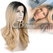 Cbwigs Women's Soft Ombre Blonde Synthetic Lace Front Wigs for Black Friday Heat Resistant Long Wavy Fibre Hair Wig