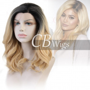 Cbwigs Short Wavy Ombre Blonde Synthetic Lace Front Wigs for Women Heat Resistant Cosplay Party Costume Wig