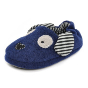 Estamico Toddler Boys' Rubber Sole Anti-skid Winter Doggy Slippers Blue UK 10-11