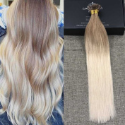 Full Shine 60cm Pre Bonded U Tip Fusion Hair Remy Human Hair Extensions Ombre Colour #12 Light Glonde Brown to #24 Light Blonde 1g per Strand 50gram