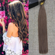 Full Shine 41cm Fusion Tip Human Remy Hair Extensions U Tip Straight Hair Extensions Hair Colour #6 Chestnut Brown Perbonded 1g/Strand 50g/ Pacakge