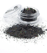 HOLOGRAPHIC BLACK Chunky Festival Glitter mix FG09 - 5ml & 10ml Pots - Fully Cosmetic Grade Glitter for Festival Faces, Party Face and Body Make-up, Sparkling Glitter Hair and Nails