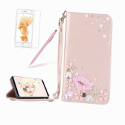 Glitter Leather Case Cover for iPhone 5/5S/SE,Girlyard Shiny Bling DIY Crystal Diamond Magnetic Closure Flip Case with [Wrist Strap] with [Card Slots] Stand Function Shockproof Wallet Case Cover for iPhone 5/5S/SE