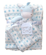 Beautiful Soft Blue/White Baby/Child with Toy Horse Small