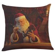 Sixcup Santa Claus Print Retro Pillowcase Linen Cotton Sofa Cushion Cover Home Decor 45*45cm