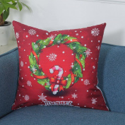 Sixcup Merry Christmas Print Pillowcase Linen Cotton Sofa Cushion Cover Home Decor 45*45cm