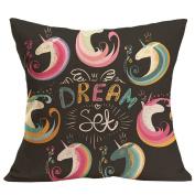 beiguoxia Unicorn Print Decorative Pillow Case Waist Throw Cushion Cover Home Sofa Decor