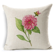 Pillowcase hand-painted flower potted vase lotus cotton linen sofa Pillow car cushion cover Floating window cushion 45*45cm