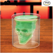 YOOKOON Skull Shot Glass Set of 2 2.5oz (75ml) Clear Glasses Double Cup Skull mug for a Whiskey Cocktail and Vodka