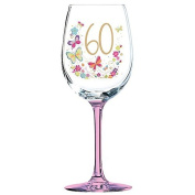 60th Birthday Lulu Wine Glass Pink Stem Butterflies and Stars Boxed