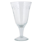 Set of 4 Clear Wine Goblet Glasses with Edge Cutting by Ib Laursen