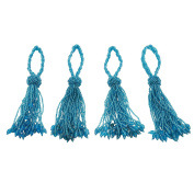 SARO LIFESTYLE All Over Beaded Tassel Napkin Ring, Turquoise