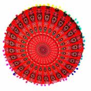 Sonnena Pillow Case Indian Mandala Floor Round Bohemian Cushions