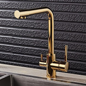 ZGB Full copper, kitchen faucet, hot and cold water tank, gold pure water wash basin, dual-use, can be rotated straight drink faucet