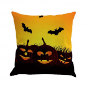 YanHoo Happy Halloween Pillow Cases Linen Sofa Cushion Cover Home Decor