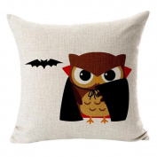 YanHoo Halloween Cotton Linen Blended Vampire Bat Pillow Case Cushion Cover