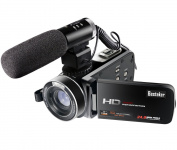 Besteker Wifi Camcorder Full HD 1080P 30FPS Portable Digital Video Camera with External Microphone