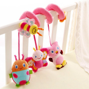 Pink Owl and Bee Kids Baby Crib Cot Pram Hanging Spiral Animal Toys Soft Sense Developmental Education Activity Interactive Bell Sound Rattles Toy Baby Shower Gift 1 Pcs