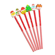 Pencil with Xmas Eraser Toppers,Wyurhjh® School Pencils Office Stationery Set Stocking Bag Filler Fun Toy for Kids Children Christmas Gift