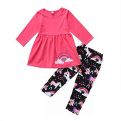 Bluelans Unicorn Rainbow Kid Girls Long Sleeve Top Pants Trousers Outfits Clothes Set