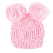 Newborn Kids Boys Girls Cute & Fashionable Winter Warm Beanie Bobble Hats with two Pom Pom - Pink