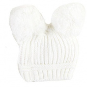 Newborn Kids Boys Girls Cute & Fashionable Winter Warm Beanie Bobble Hats with two Pom Pom - Cream