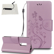 ZTE Axon 7 Leather Wallet Case,TOCASO Folio Leather Wallet Case with [Kickstand][Card Slots][Magnetic Closure] Flip Notebook Embossed Butterfly Flower Leather Case for ZTE Axon 7-Light Purple