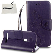 Asus ZenFone GO ZB500KL Leather Wallet Case,TOCASO Folio Leather Wallet Case with [Kickstand][Card Slots][Magnetic Closure] Flip Notebook Embossed Butterfly Flower Leather Case for Asus ZenFone GO ZB500KL-Purple
