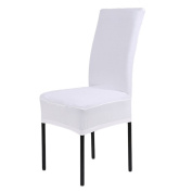 Fengh Solid Colour Polyester Spandex Removable Seat Covers Dining Chair Cover Slipcover __White