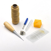 6 Sewing Tools Leather Carft Needles beeswax Awl Thread thimble ring Seam Ripper