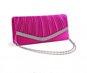 EWFSEF Lady's Evening Handbag Clutch Bag w/ Shoulder Chain Rhinestone Satin