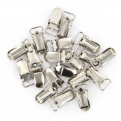 Veroda 20pcs 11mm Webbing Hook Pacifier Suspender Clips for Craft---Silver