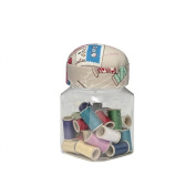 Hobby & Gift Clear Jar of Sewing Threads with Pincushion Lid - each
