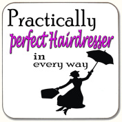 PRACTICALLY PERFECT HAIRDRESSER IN EVERY WAY DRINKS COASTER PRESENT