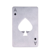 Poker Bottle Opener,Stainless Steel Credit Card Poker Playing Card of Spades Bar Tool Case Opener Remover Removal