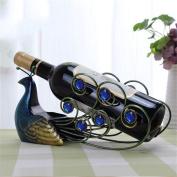 WKAIJC European-style Creative Home Furnishings Decoration Wine Showcase Peacock Style Iron Wine Racks