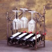 WKAIJC European-style Creative Home Furnishings Decoration Wine Showcase 4 Bottled Iron Wine Racks