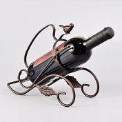 WKAIJC European Creative Personality Home Decoration Ornaments Wine Display Stand Bronze Single Bottle Iron Wine Rack